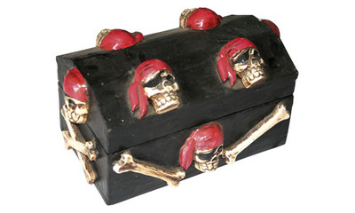Pirate chest with carved skulls