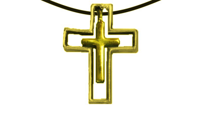 Pendant cross inside cross gold