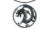 Pendant chin. dragon inside a ring silver