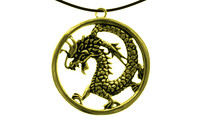 Pendant chin. dragon inside a ring gold