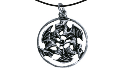 Pendant three dragons inside a ring