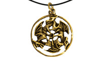 Pendant three dragons inside a ring gold
