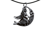 Pendant witch on the moon silver