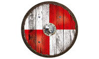 Viking shield warrior red
