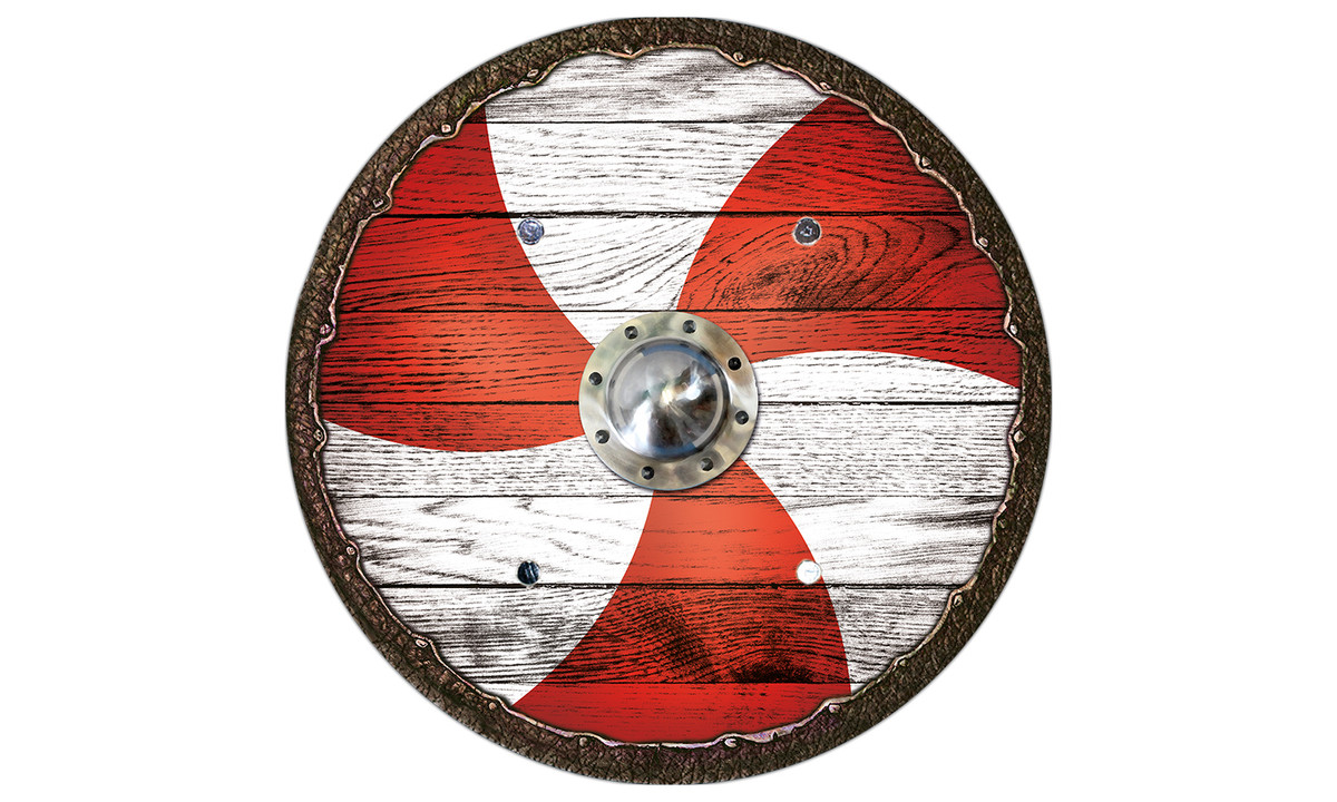Holzspielerei Wappenschild Adler rot