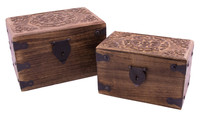 Wooden chest Sun-wheel set