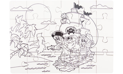 Coloring puzzle pirate, 24 parts