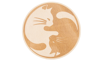 Drink Coaster natural - cats, set of 4