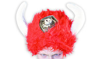 Viking fur hat red