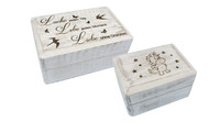 Wooden box white with engraving