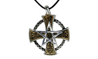 Pendant cross with pentagram